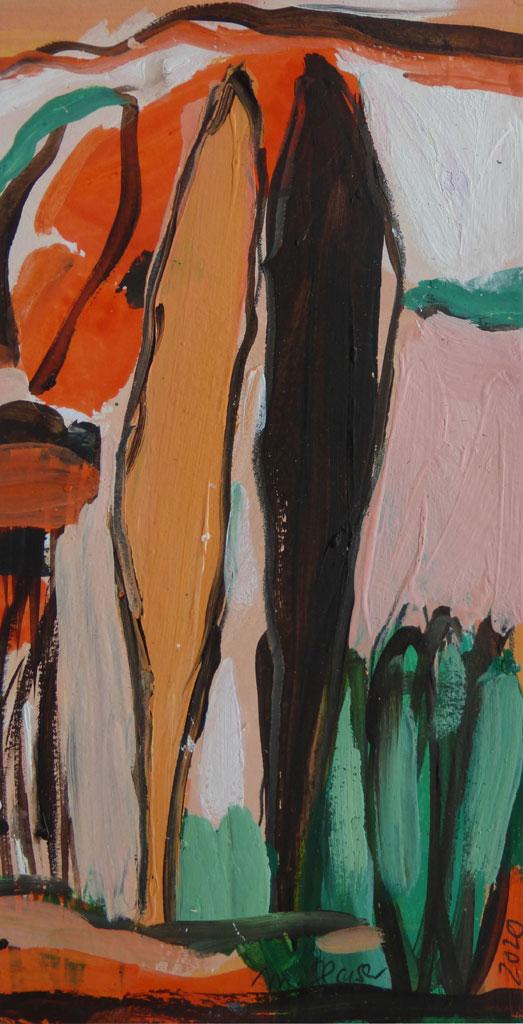 'Zypressenpaar', umbra und hellorange, 30x21 cm, 2020