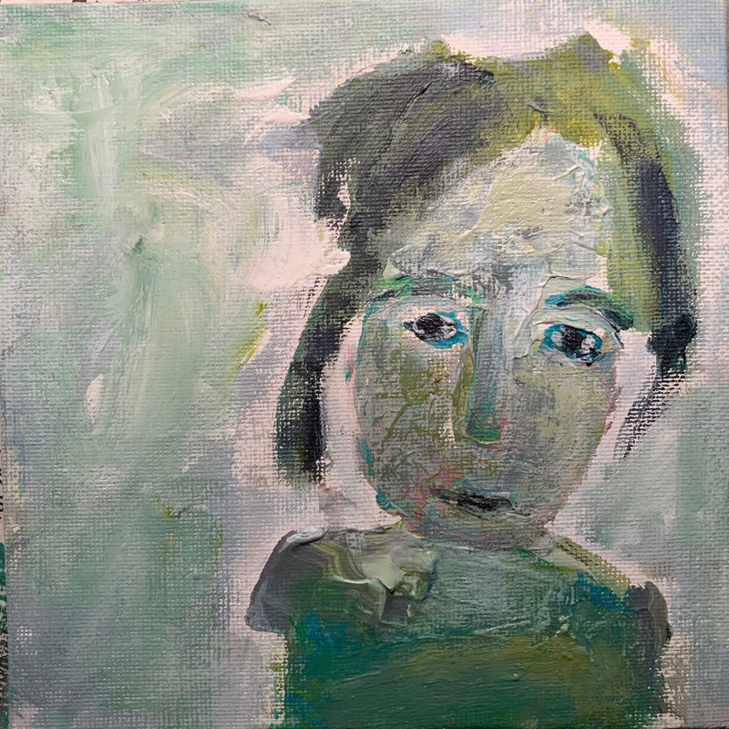 Charlotte, Acryl auf Leinwand, im Rahmen 30x 30 cm, 2021