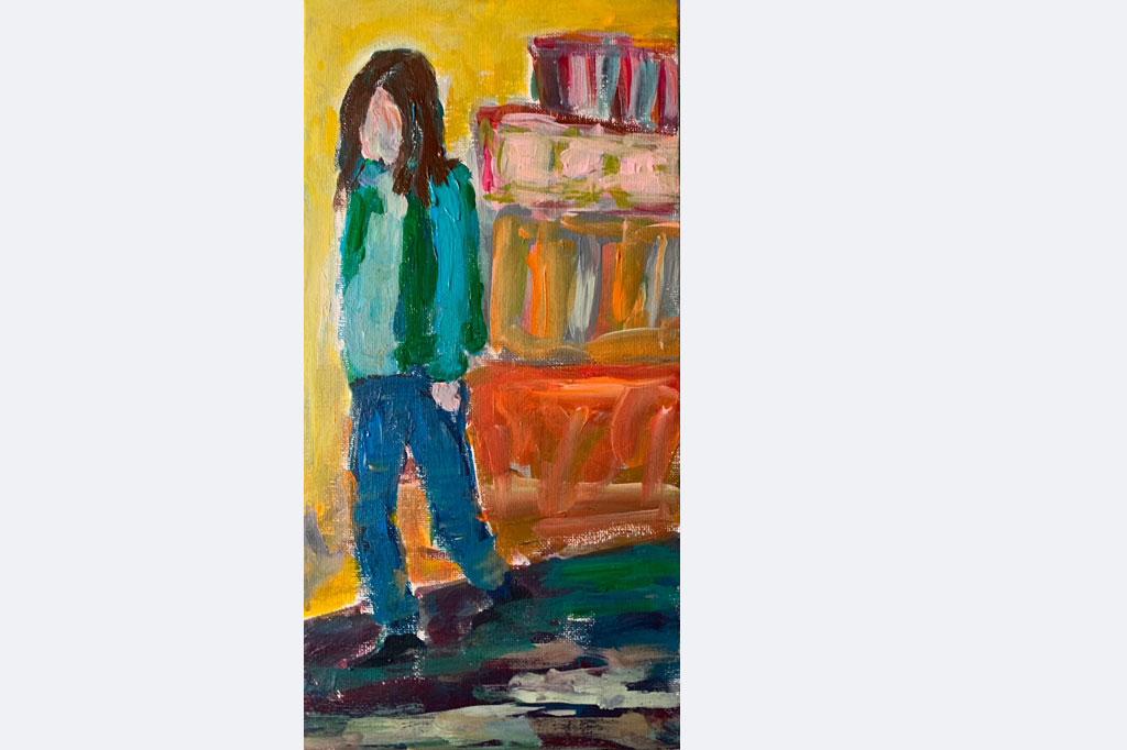 "Miriam Saric, ""Lisa"", Acryl auf Leinwand, im Rahmen 30x45 cm, 2021"