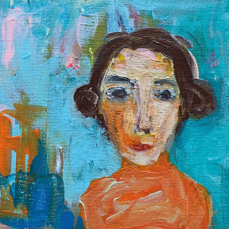 Sofie, Acryl auf Leinwand, im Rahmen 30x30 cm, 2021