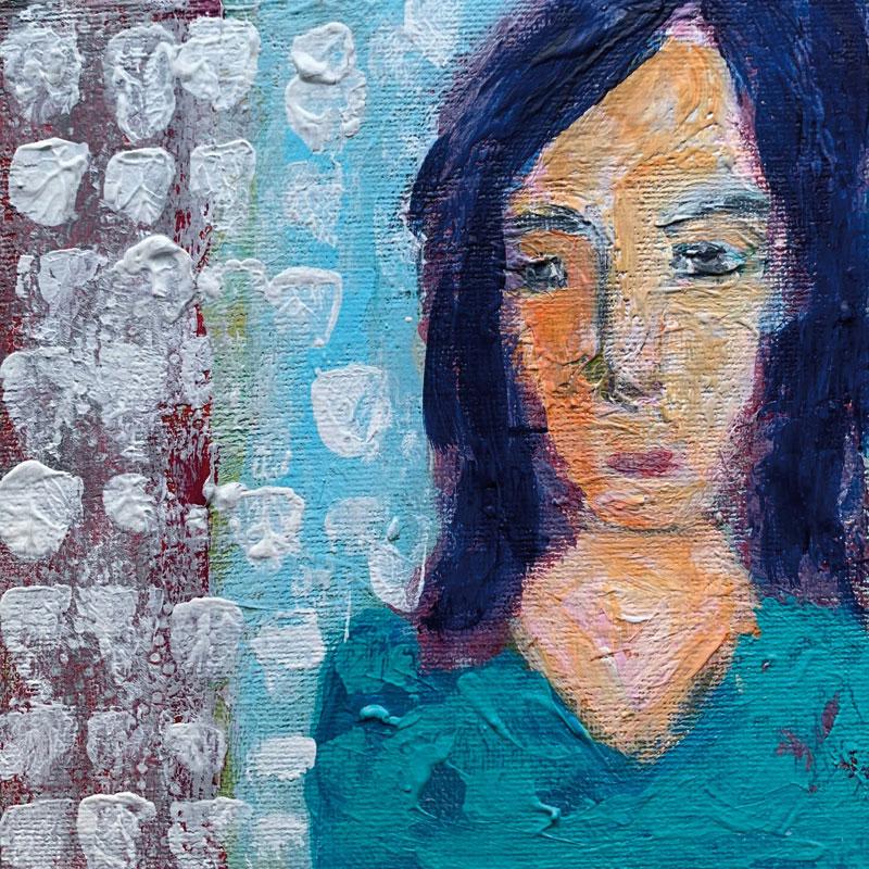 Frida, Acryl auf Leinwand, im Rahmen 30x30 cm, 2021