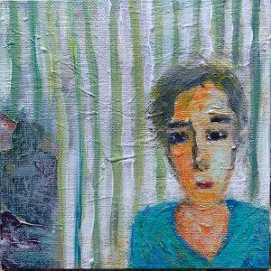 Luise, Acryl auf Leinwand, im Rahmen 30x30 cm, 2021