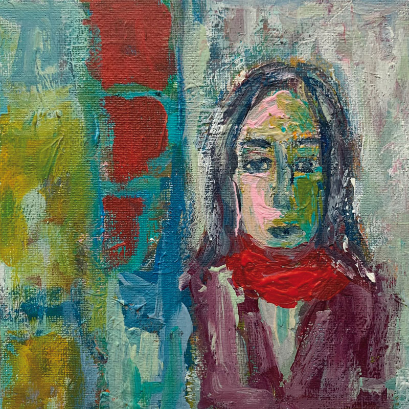 Josefine, Acryl auf Leinwand, im Rahmen 30x30 cm, 2021