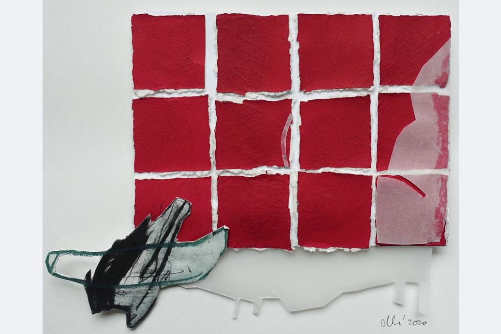 """Dorothee Herrmann, aus der Serie """"denk ich an Grönland"""" collagen mixed media, gerahmt 40x30 cm je 180 €, 0731-710484"""