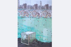 """Myrah Adams, """"Separation or Isolation?"""", Collage und Mischtechnik, 70x50 cm"""
