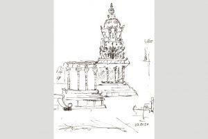 "Elke Traue, ""Airavateshwara Tempel"" 2020, 14 x 21 cm, Zeichnung, 40.- €, 01624587977"