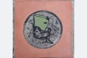 Alexandra Gebhart - be yourself- mixed Media a. Nessel u. Holz u.Wachs m.R. 390,-