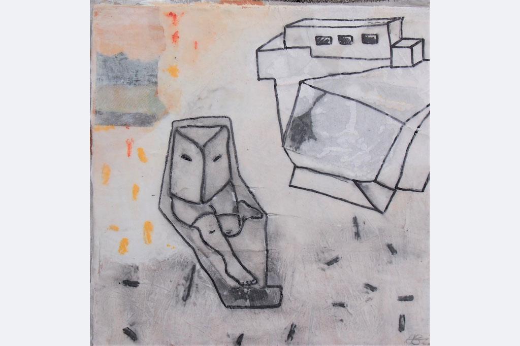 Alexandra Gebhart - island- mixed Media a.Nesselu.Holz u.Wachs 30 x 30 m.R. 390,-