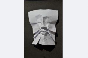 """Blattgesicht"", Claudia Borowsky, C1, 23 x 21 x 7 cm, Papier, 2020"