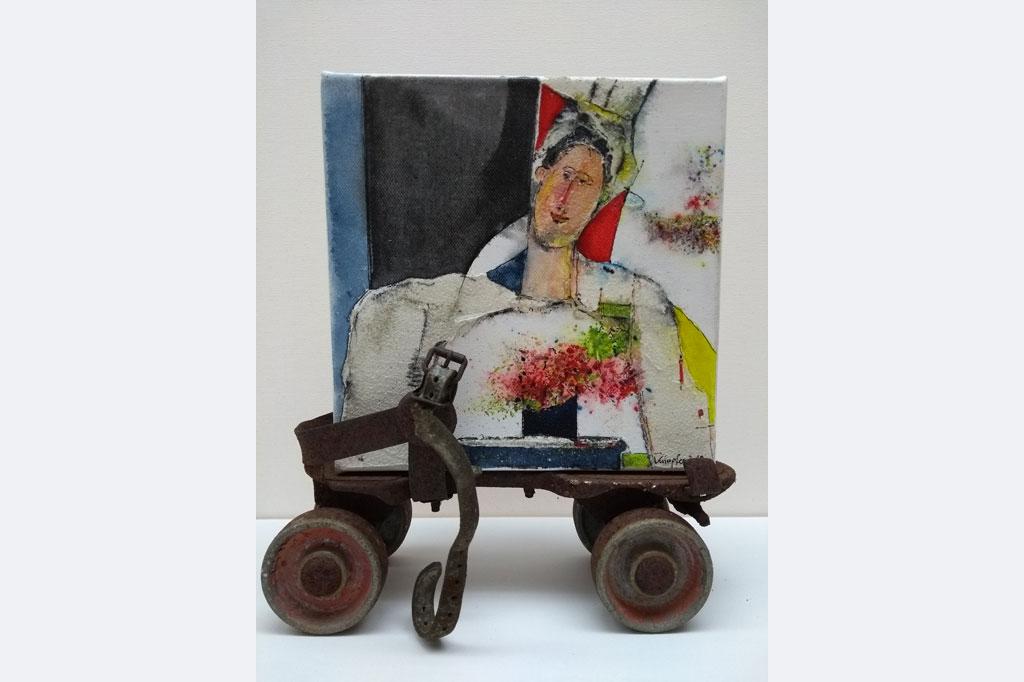 """Hans-Jürgen Knupfer, """"Kunst auf Rädern - Dame mit Strauß"""" 30x30 cm"""