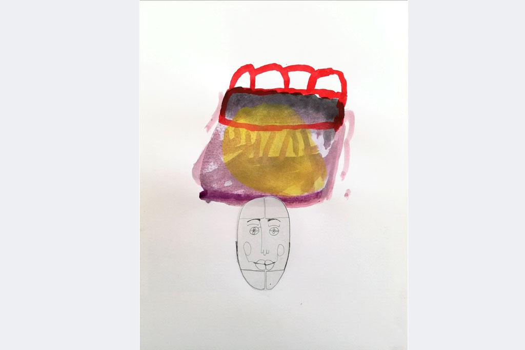 """Dorothea Grathwohl, ,""""lonely head 1"""", Bleistift und Aquarell auf Karton"""