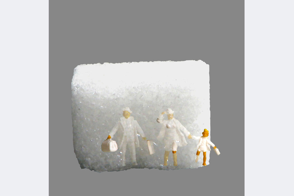 "Dietmar H. Herzog, ""Hiergeblieben"", Fotografie 40x50cm, Würfelzucker, Figuren"