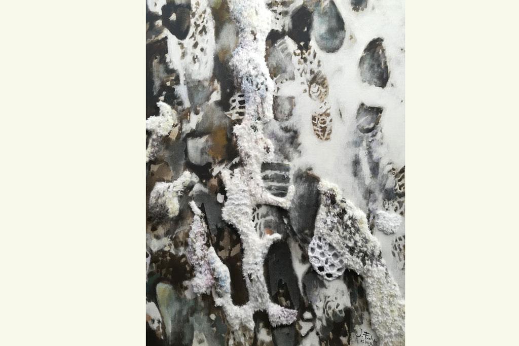"""""""Eingefrorene Gesellschaft"""", Isabel Fuchs, gemalt gestrickt gehaekelt, Acryl auf Lein, 60x80"""