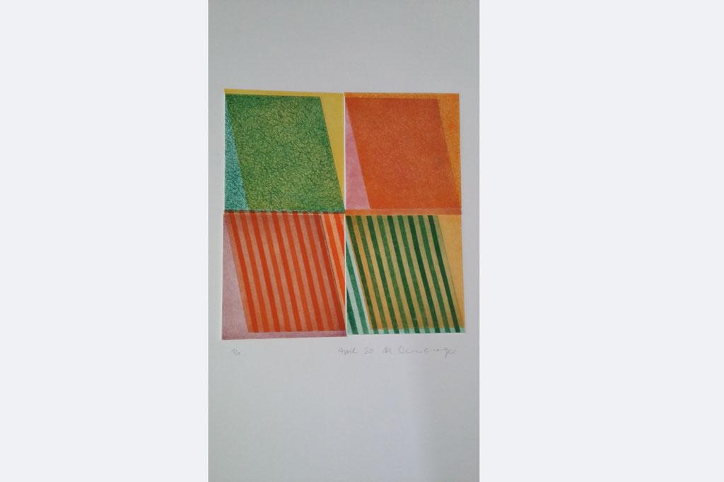 """Manfred Ohnesorge, """"heitergehtsweiter"""" 2, gedruckt von 8 Platten"""