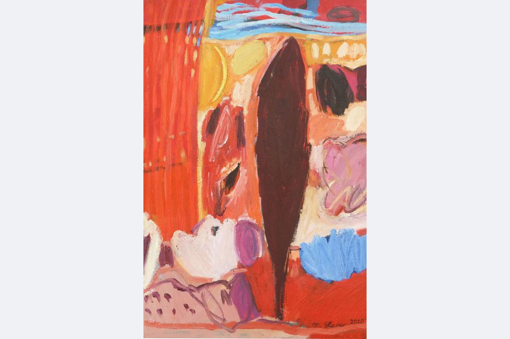 Marlis Glaser, 2020-1 zum ELS-Gedicht, 'Phantasie' mit dunkler Zypresse, 70 x 45, Öl-Lwd