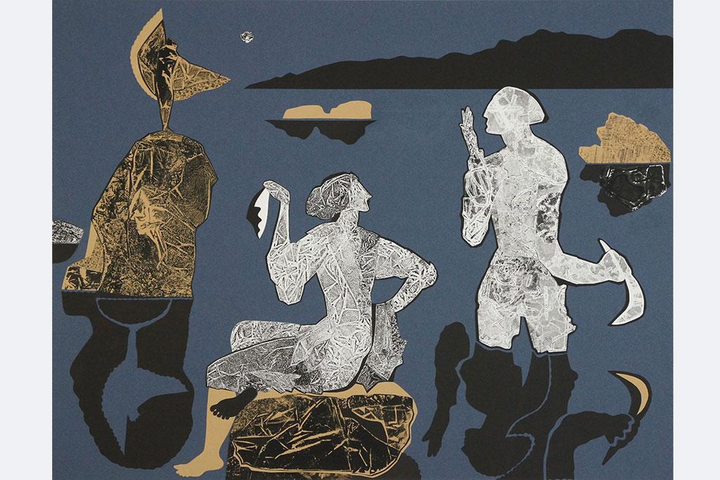 """""""Geburt eines neuen Sterns"""", Elena Schoch, 50x65 cm, Monotypie/Collage auf Papier, 2020"""