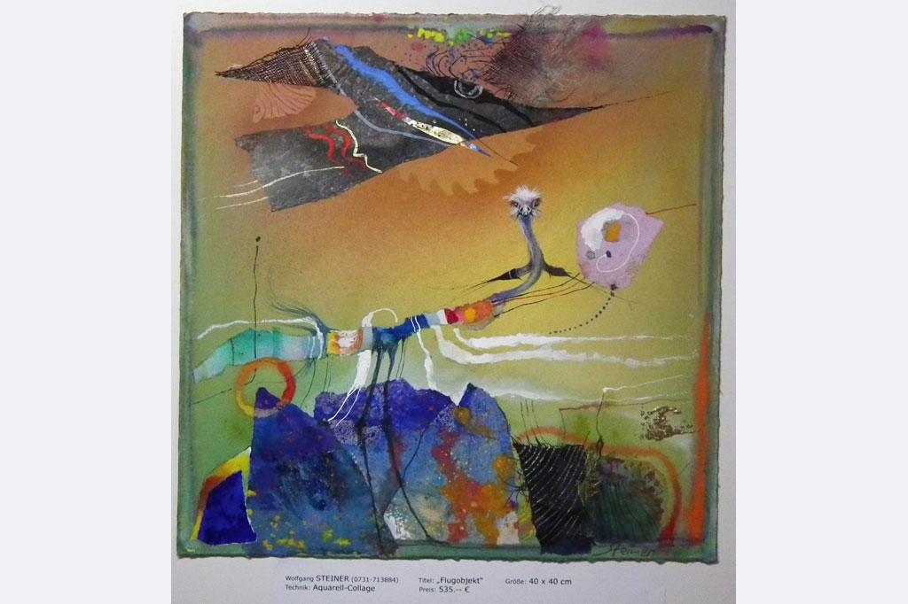"Wolfgang Steiner, ""Flugobjekt"", 40 x 40 cm, Aquarell-Collage, 535.- €"