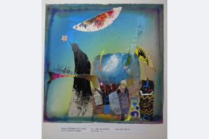 """Wolfgang Steiner, """"Über die Brücke"""", 40 x 40 cm, Aquarell-Collage, 535.- €"""