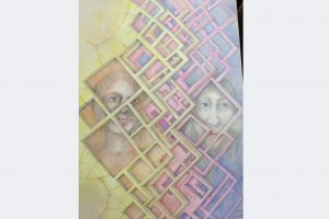 """Myrah Adams, """"Kontaktsperre"""" Bleistift und Buntstift auf Karton, 70x50 cm"""