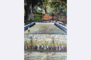 Myrah Adams: Vor und hinter der Mauer, Collage, 70x50 cm, 450,- m.R.