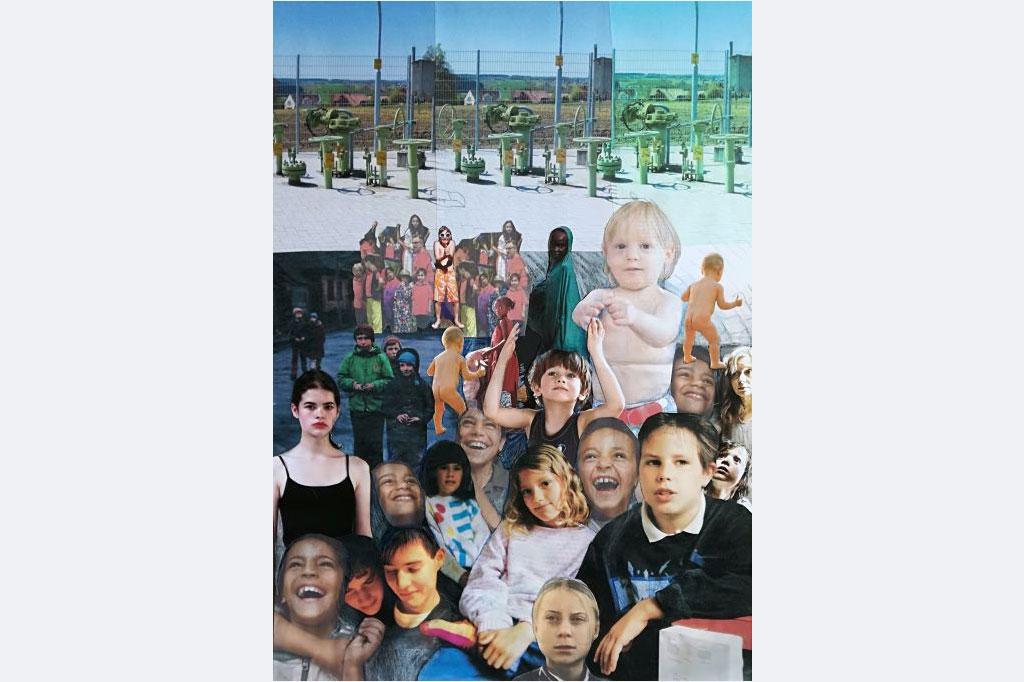 Myrah Adams: Das Leben ist kein Kinderspielplatz, M3 2020.053, Collage, 70x50 cm, 550,- m.R. myrahadams(at)aol.com