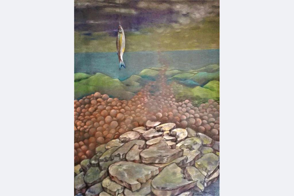 Myrah Adams: Die Speisung der Hungernden Zeichnung Bleistift und Buntstift auf Karton, 100x70 cm
