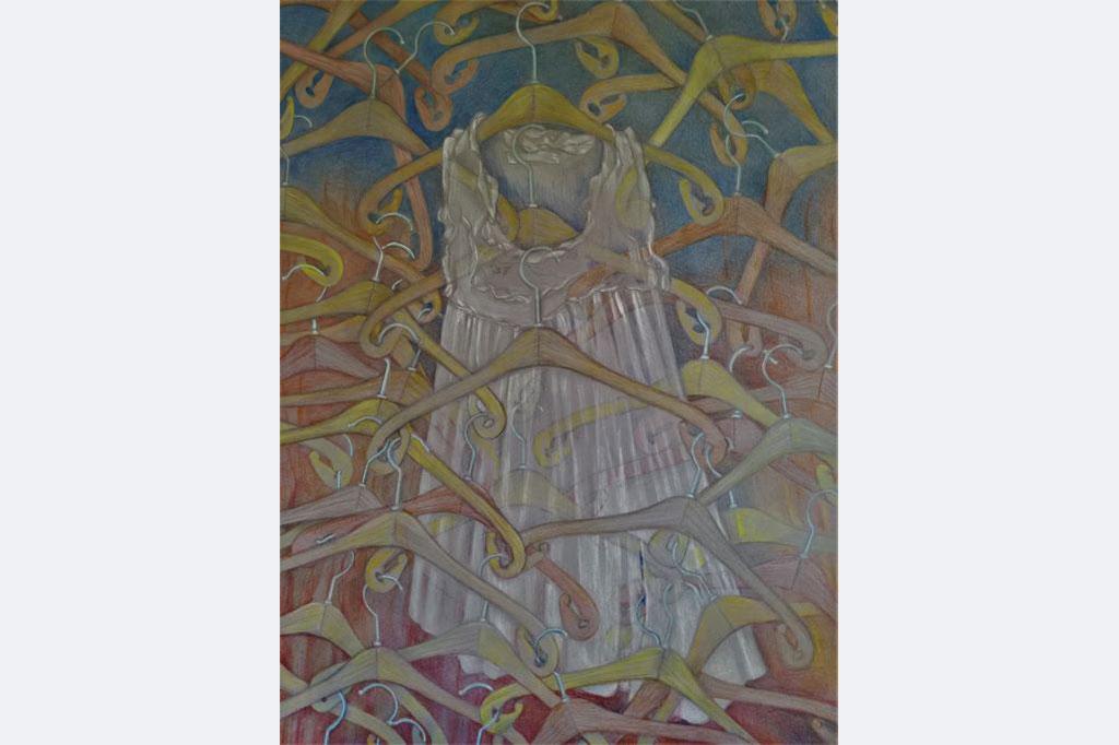 Myrah Adams: Bis aufs letzte Hemd Zeichnung Bleistift und Buntstift auf Karton, 100x70 cm