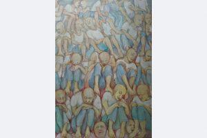 Myrah Adams: Einer trage des anderen Last Zeichnung Bleistift und Buntstift auf Karton, 100x70 cm