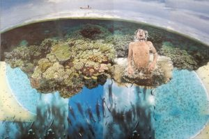 Myrah Adams: Rapsody in Blue, 2021.020 Collage, 70x50 cm, 600,- €