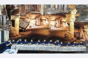 Myrah Adams: Tafelrunde, 2020.080 Collage, 70x50 cm, 500,- myrahadams@aol.com