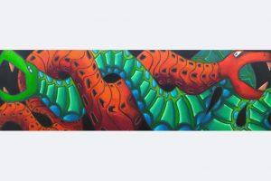 """Bertram Bartl, """"Schlangen"""", 70 x 250 cm, Öl auf Leinwand, Preis 3500 Euro"""
