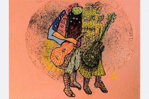 """Jörg Eberwein """"Zwei Musiker mit Masken"""", Acryl und Schellack auf Büttenpapier, 15 x 10,5 cm, 2021"""