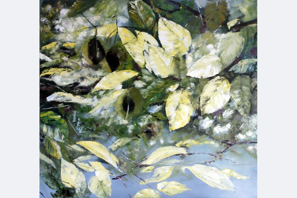 """Gabriele Einstein """"verde V"""", 90 x 100 cm, Öl auf Leinwand"""