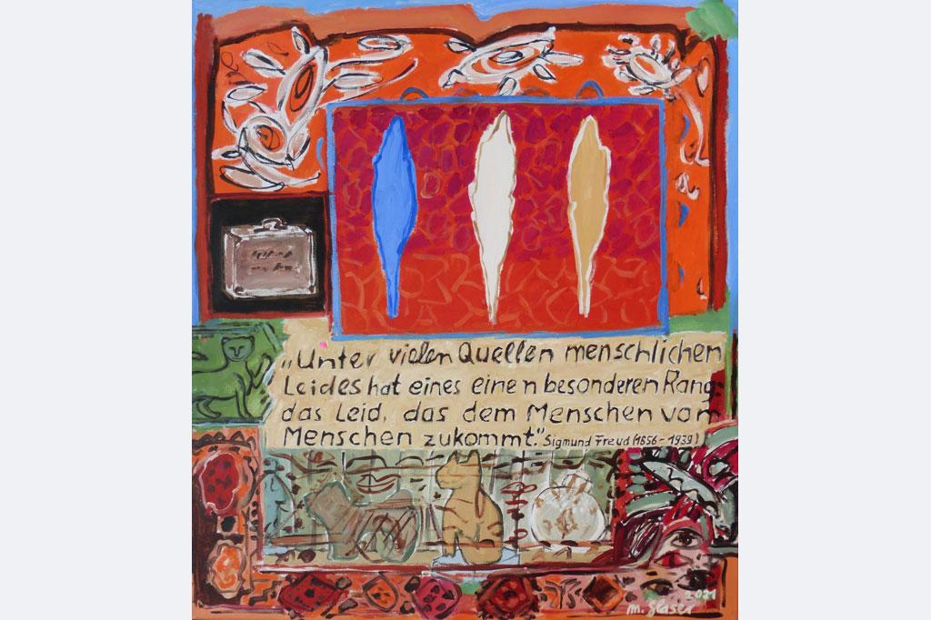Marlis Glaser, Sigmund Freuds Couch-Decke, Skulpturen, Koffer, Zitat und Baum-Metaphern