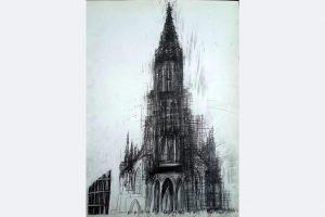 "Andrea Jakob, ""Münster 2"", Bleistiftzeichnung auf Papier (70x50), AndreaUlf(at)web.de"