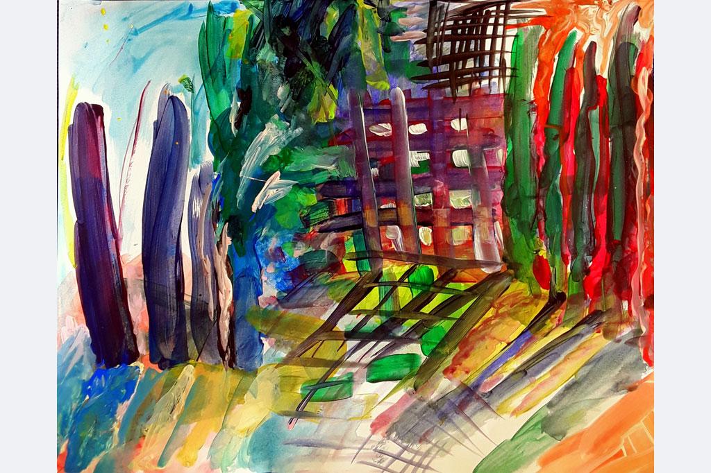 """Andrea Jakob, """"durchlässig"""", Acryl auf Papier, 53x43, entstanden 15.12.2020"""