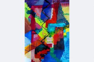 Andrea Jakob, Lieber Rot als tot, 60 x 43, Tusche, Tempera auf Papier, April 2021