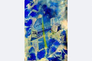 Andrea Jakob, Schloß im Himmel, 60 x 43, Tusche, Tempera auf Papier, April 2021