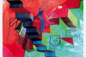 """Andrea Jakob """"stufenweise"""" 60x43 Acryl auf Papier, linienfuehrung-a.j@ web.de"""