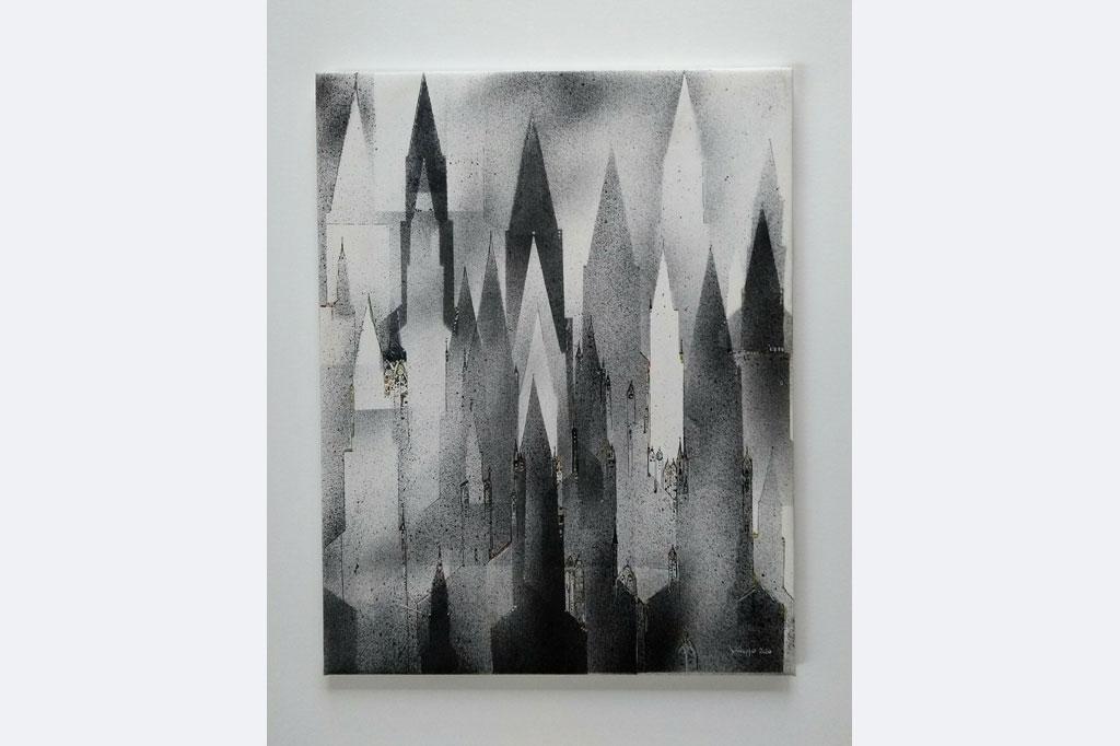 """Hans-Jürgen Knupfer, """"Münsterblick"""", 2020, Malerei auf Leinwand 40x50 cm"""