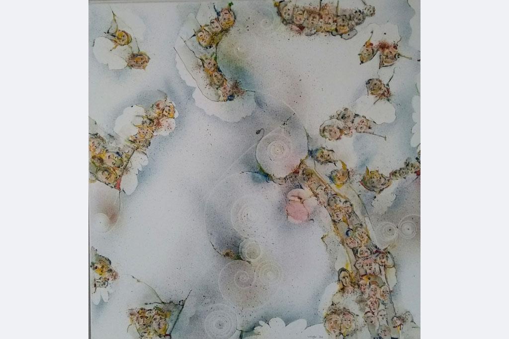 """Hans-Jürgen Knupfer, """"Der geöffnete Himmel"""", Deckenbild, 90x90, Malerei auf Leinwand 2020"""