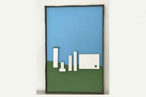 """Amanda Knapp, """"Neue Stadt"""", 40 x 60 cm, Holz, Acryl, Metallrahmen"""