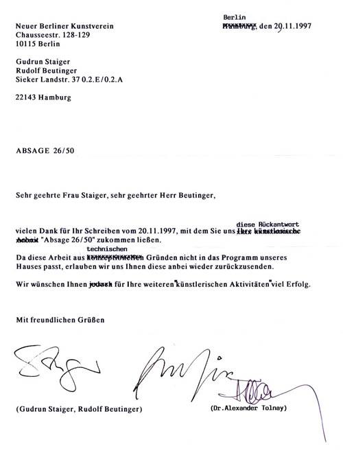 Absage, 1997/1998, Konzeptarbeit: Als Auflage verschickte Absagen an Kunstinstitutionen