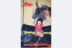 """Charlotte Paulus-Weik zusammen mit Juliane Paulus-Volz, """"Fledermäuse isst man nicht"""", 80 x 105 cm, Eitempera und Acryl auf ungrundierter Leinwand, Preis auf Anfrage, Kunst verbindet zu Zeiten von Corona"""