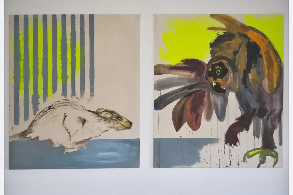 """Charlotte Paulus-Weik, """"Karambaaaaah!"""", Diptychon, Acryl und Eitempera auf ungrundierter Leinwand. Größe je 95 x 80 cm (oder zusammen 95 x 160 cm)"""