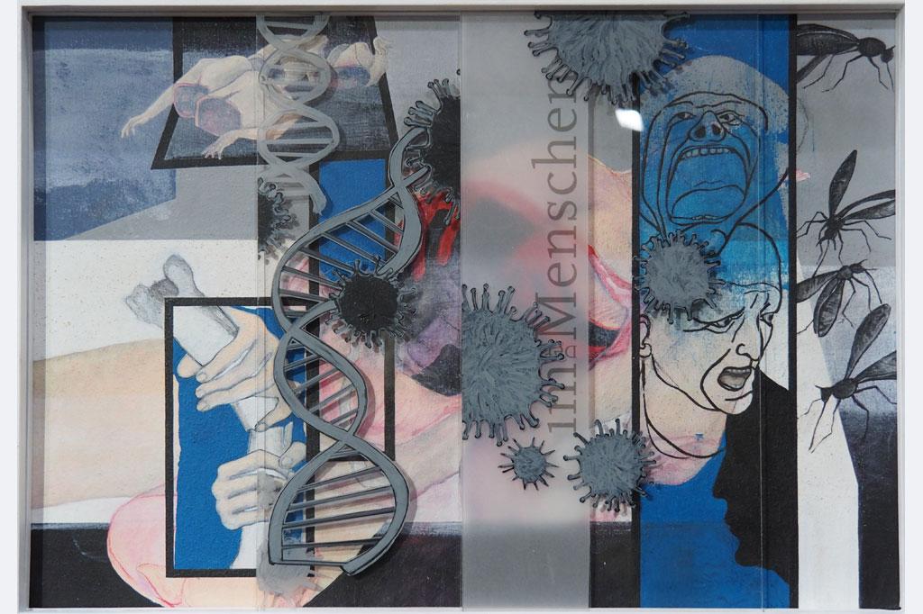 """Walter Rockenbauch, """"trotz intensiver Suche wurde der wohl entscheidende Fehler nicht gefunden"""", Malpappe- Acryl- div. Stifte – Acrylglasscheiben- die Scheiben sind im Rahmen verschiebbar, Jan. 2021 - 61x 44"""