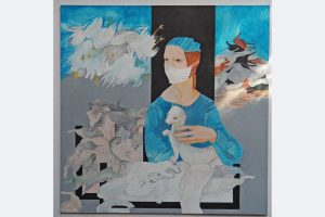 """Walter Rockenbauch, """"Der Mensch und sein Tier"""" 2021, 60x 60 cm inkl. Rahmen Acryl auf Karton und Stifte"""