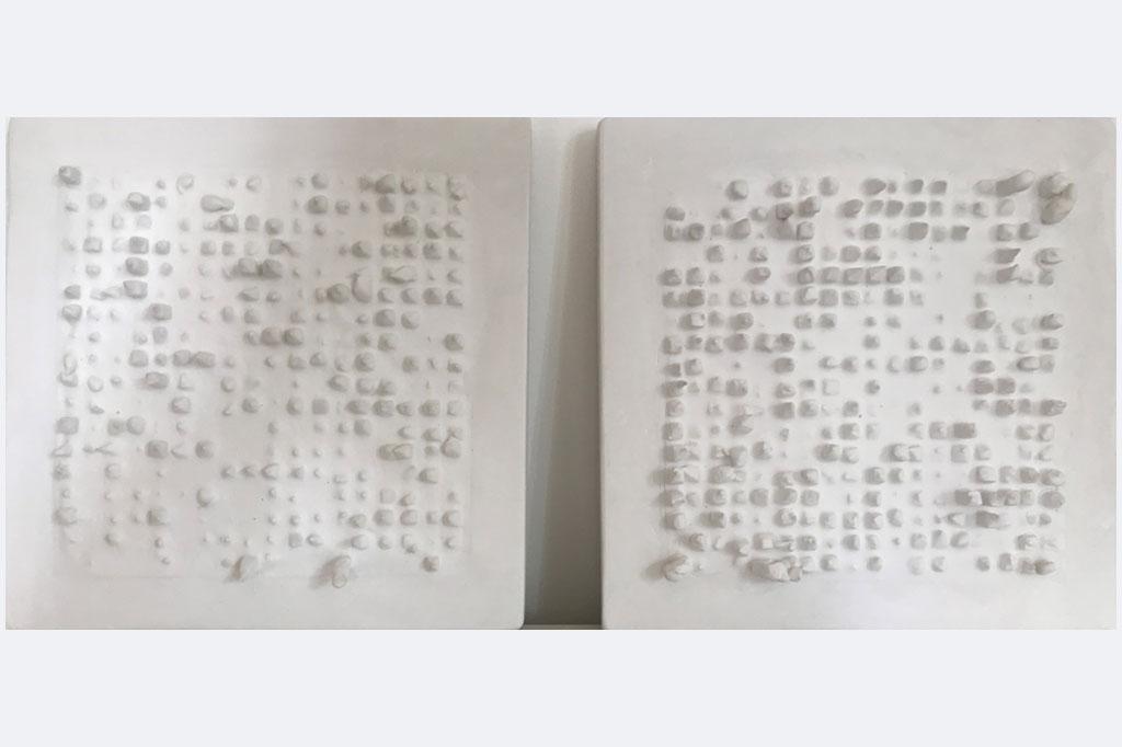 "Amanda Knapp, ""Schattenbild I+II"", 28 x 28 x 5 cm, Dentalgips, nanoversiegelt, 2021"