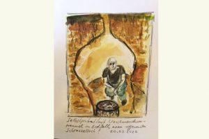 """Reiner Schlecker """"Selbstportrait mit Waschmaschinentrommel im Erdstall einem sogenannten Schrazelloch"""""""
