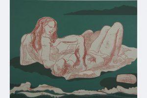 """Elena Schoch, """"Berührung"""", 2020, 50x 65 cm, Monotypie/Collage auf Papier."""